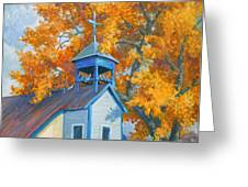 Church And Cottonwoods Greeting Card