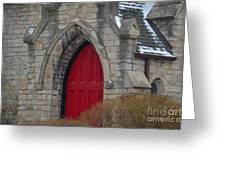 Church And The Red Door Greeting Card
