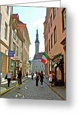 Church At End Of Street In Old Town Tallinn-estonia Greeting Card