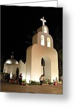 Church At Night In Playa Del Carmen Greeting Card