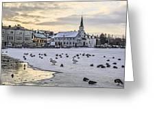 Church By Tjornin Pond Greeting Card