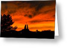 Church Cross Lit By Tucson Sunset Greeting Card