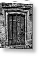 Church Door Bw Greeting Card