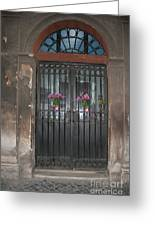 Church Doors And Flowers Greeting Card