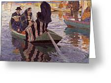 Church-goers In A Boat Greeting Card