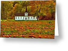 Church In A Pumpkin Patch Greeting Card