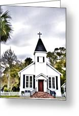 Church In A Small Town Greeting Card