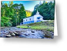 Church In The Mountains By The River Greeting Card