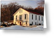 Church In Winter Sunset Greeting Card