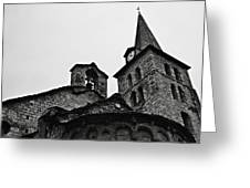 Church Of The Assumption Of Mary In Bossost - Abse And Tower Bw Greeting Card