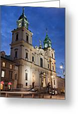 Church Of The Holy Cross At Night In Warsaw Greeting Card