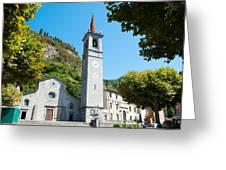 Church On Main Square, Varenna, Lake Greeting Card