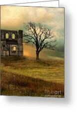 Church Ruin With Stormy Skies Greeting Card