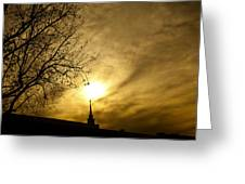Church Steeple Clouds Parting Greeting Card