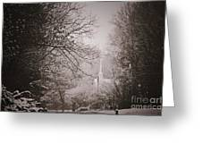 Church Steeple In The Snow Greeting Card