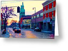 Church Street In Winter Melting Snow Sunset Reflections Montreal Urban City Landscape Scene Cspandau Greeting Card