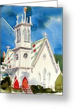 Church With Jet Contrail Greeting Card