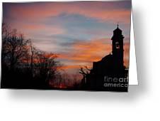 Church With Orange Sky Greeting Card