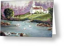 Church With Pond Greeting Card