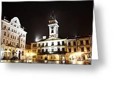 Cieszyn Town Center At Night Greeting Card