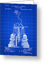 Cigar Lighter Patent 1888 - Blue Greeting Card