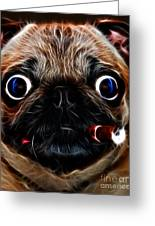 Cigar Puffing Pug - Electric Art Greeting Card