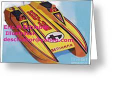 Cigarett Power Boat Illustration Greeting Card