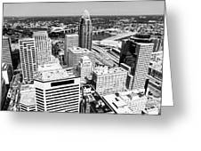 Cincinnati Aerial Skyline Black And White Picture Greeting Card
