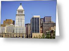 Cincinnati Downtown City Buildings Business District Greeting Card by Paul Velgos