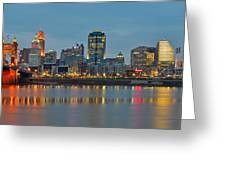 Cincinnati On The Riverfront Greeting Card