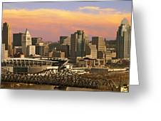 Cincinnati Over The Bridge Greeting Card
