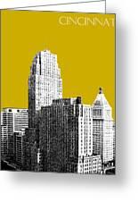 Cincinnati Skyline 2 - Gold Greeting Card