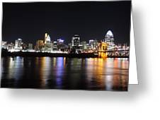 Cincinnati Skyline At Night From Covington Kentucky Greeting Card