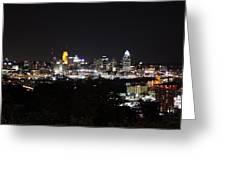 Cincinnati Skyline At Night From Devou Park Greeting Card