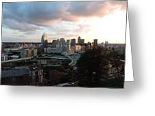 Cincinnati Skyline At Sunset Form The Top Of Mount Adams Greeting Card