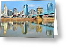 Cincinnati Skyline Reflects Greeting Card