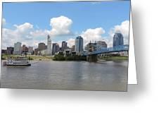 Cincinnati Skyline With A Boat Greeting Card