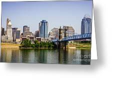 Cincinnati Skyline With Roebling Bridge Greeting Card