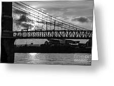 Cincinnati Suspension Bridge Black And White Greeting Card by Mary Carol Story