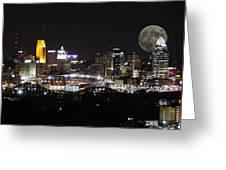 Cincinnati With The Moon 2 Greeting Card