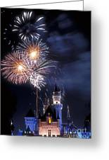Cinderella Castle Fireworks Iconic Fairy-tale Fortress Fantasyland Greeting Card