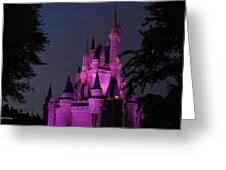 Cinderella Castle Illuminated In Pink Glow Greeting Card