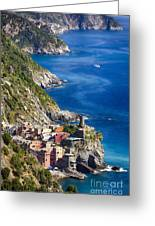 Cinque Terre Towns On The Cliffs Greeting Card by George Oze