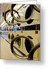 Circular Doors On Laundromat Washing Machines Greeting Card