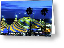 Circus Tent Swirls Of Blue Yellow Original Fine Art Photography Print  Greeting Card