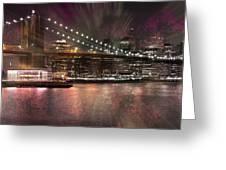 City-art Brooklyn Bridge Greeting Card by Melanie Viola