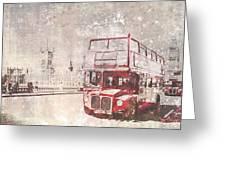 City-art London Red Buses II Greeting Card by Melanie Viola