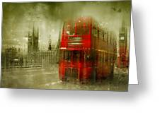 City-art London Red Buses Greeting Card by Melanie Viola