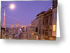 City At Night, San Francisco Greeting Card