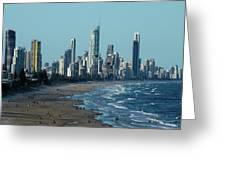 City At The Waterfront, Surfers Greeting Card